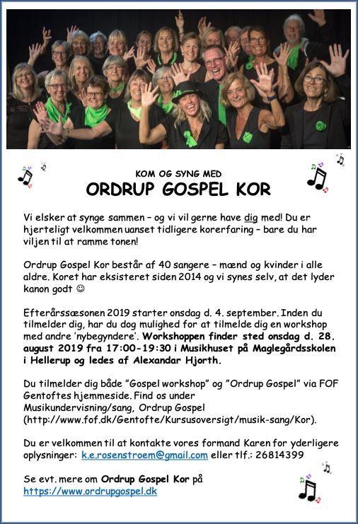 Så starter Ordrup Gospel den 4. sep. Mon du kan hjælpe med at dele det til venner og bekendte